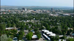 Billings Montana from above on cliff showing city and all green trees and Stock Footage