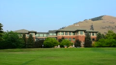 Missoula Montana campus of University oif Montana with M on mountain college Stock Footage