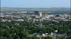 Billings Montana from above on cliff showing city and all green trees and - stock footage