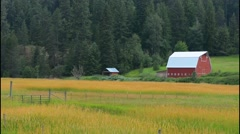 Coeur d' Alene Idaho farm with red barn in peaceful setting of farming - stock footage
