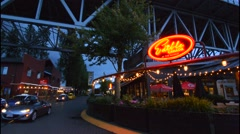 Vancouver British Columbia Canada night exposure of Granville Island shop called Stock Footage