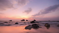 Amazing sunset over the tropical sandy beach. Time lapse. Myanmar (Burma) Stock Footage