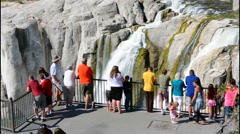 Twin Falls Idaho attraction with tourists of Shosshone Falls & Dierkes Lake with - stock footage