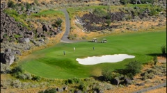 Twin Falls Idaho beautiful exclusive Blue Lake Country Club in valley of - stock footage