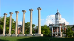 Columbia Misouri University of Missouri Jesse Hall and The Columns First State - stock footage