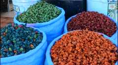 Marrakech Morocco  close up of spices in color in Old Jewish area of downtown Stock Footage