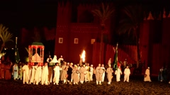 Marrakech Morocco Chez Ali famous attraction with Moroccan show - stock footage