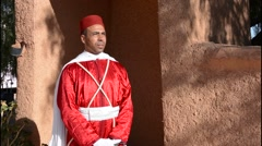 Morocco Atlas Mountains Boulmane Danes village man in red traditional costume Stock Footage