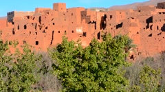 Morocco Atlas Mountains Tinghir Oasis and  village with beautiful mountains and Stock Footage