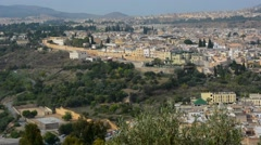 Fez Morocco panoramic view of crowded city and old town medina with walls from Stock Footage