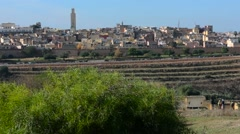 Meknes Morocco city scape panoramic of old city medina with walls of downtown Stock Footage