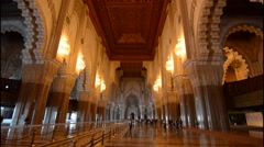 Casablanca Morocco interior famous Hassen II Mosque largest mosque in Morocco - stock footage