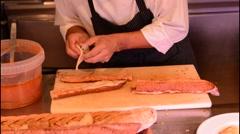 Barcelona Spain hams Costa Gallega Tapas Restaurant counter restaurant food bar Stock Footage