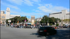 Barcelona Spain traffic in circle in downtown city center Stock Footage