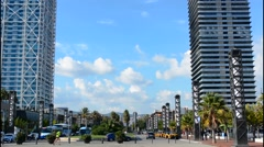 Barcelona Spain marina at Olympic Harbor with tall buildings Stock Footage