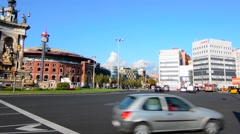 Barcelona Spain traffic in circle called Plaza de Espana and the Arenas which Stock Footage