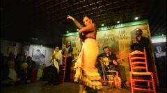 Granada Spain traditional Flamenco dancer with musioc in Tablao Albayzin Stock Footage