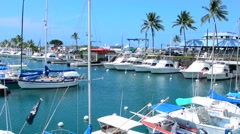 Kona Hawaii Kailua-Kona Big Island boats at marina called Honokohan Marina & Stock Footage