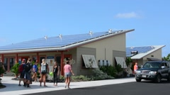 Kona Hawaii Kailua-Kona Big Island solar panels at very important school called Stock Footage