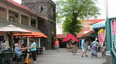 Kona Hawaii Kailua-Kona Main Street shops at Kona Village with stores in center - stock footage