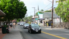 Kona Hawaii Kailua-Kona Main Street traffic on Alii Drive shops shopping Stock Footage