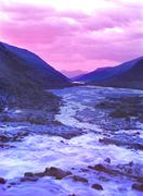 mountains  river altai sunset - stock photo