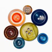 Retro collection of vintage buttons in the old iron box - stock photo
