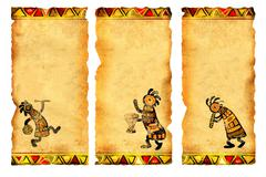 Set of banners with African traditional patterns Stock Photos