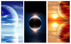 Set of banners with landscape in fantasy planet Stock Photos