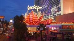 4K Las Vegas Neon Lights Casino Flamingo Strip Stock Footage