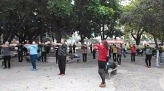 Shenzhen, China: dance exercise to women Stock Footage