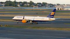 4K Icelandair Boeing 757 arrival, taxies Stock Footage