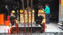 Shenzhen, China: in the temple to burn incense to worship Buddha Stock Footage
