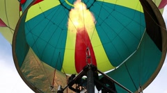 Looking up inside hot air balloon Stock Footage