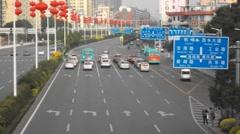 Shenzhen, China: Baoan Avenue traffic landscape Stock Footage
