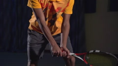 Tennis shots: Backhand (slow motion).Professional lighting - stock footage