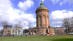 Water Tower Mannheim with pan from left to right Stock Footage