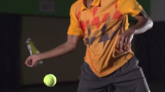 Tennis shots: Powerful Forehand (slow motion). Professional lighting Stock Footage