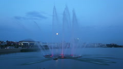 Fountain on the lake Kaban at night in Kazan, Russia Stock Footage