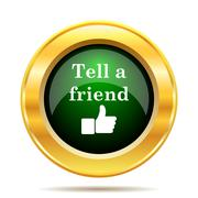 Stock Illustration of Tell a friend icon. Internet button on white background..