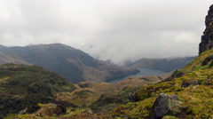 Clouds moving over a lake and rugged Andean scenery Stock Footage