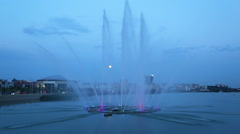 Fountain on the lake Kaban at night in Kazan, Russia - timelapse - stock footage