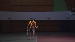 Tennis shots: Serve (slow motion). Professional lighting Stock Footage