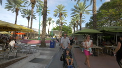 Walking in Lincoln Road Mall, Miami Beach, Florida Stock Footage