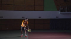Tennis shots: Perfect Serve (slow motion). Professional lighting Stock Footage