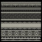 Vector set of lace trims Stock Illustration