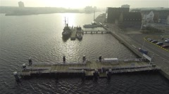 Aerial view from the museum for old ships in Kiel Stock Footage