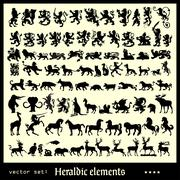 Heraldic elements mammals Stock Illustration