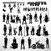 Vector set of rock-stars - stock illustration