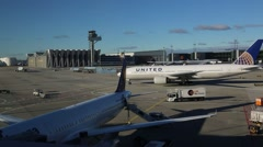 United Airlines Boeing 777 at Frankfurt  airport. Stock Footage